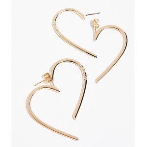 Sterling Heart Hoop Ear Jacket Earrings